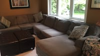 brown fabric sectional sofa with throw pillows Burlington, L7P 0B2