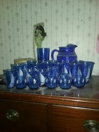 Blue ship depression glass 24 piece set Locust Gap, 17840