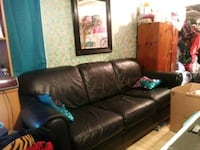 black leather 3-seat sofa Simi Valley, 93063