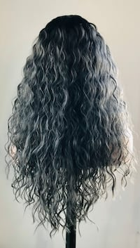 Beautiful Black & Grey Wavy Wig for Halloween or Everyday Calgary, T2P