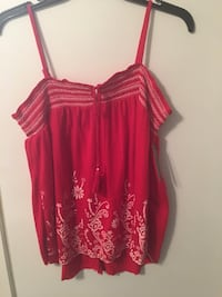 Women's red and white spaghetti strap top