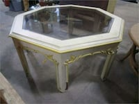 white and yellow wooden framed glass display counter 460 mi