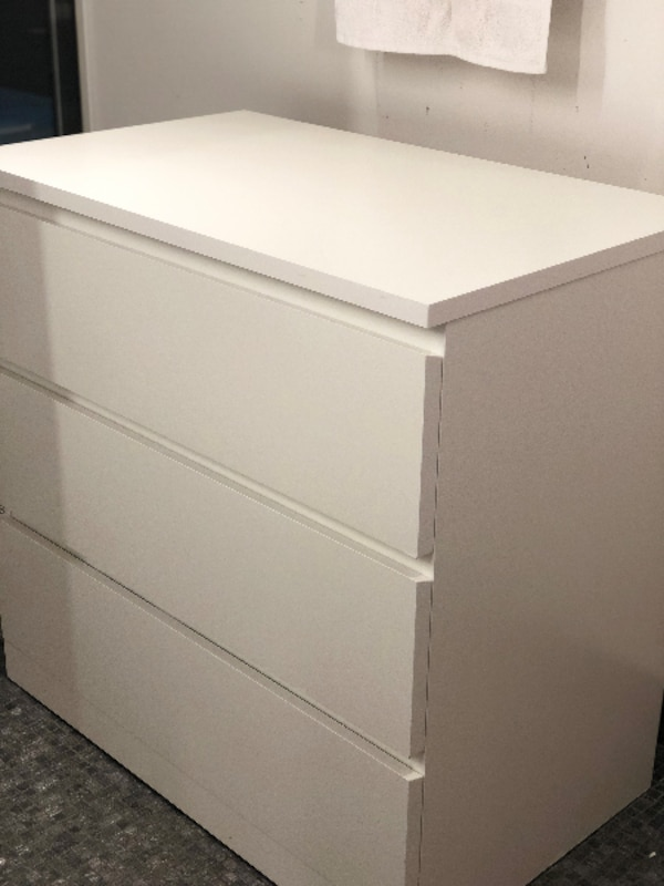 Used Ikea Malm White 3 Drawer Chest For