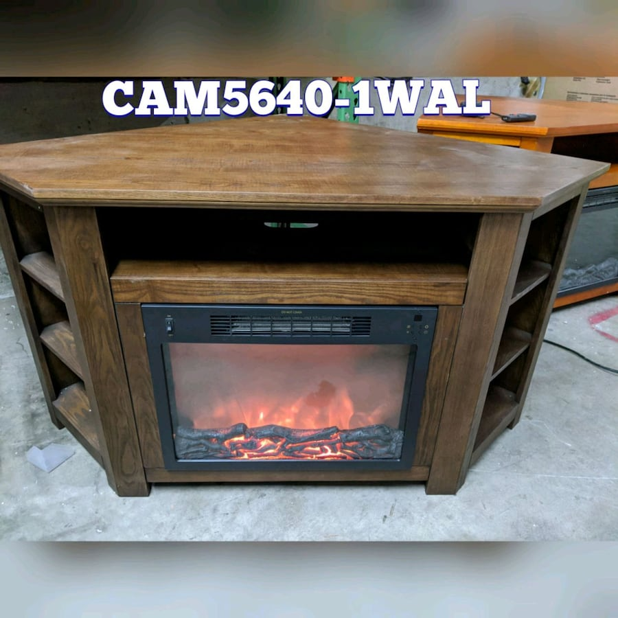 Corner electric fireplace heaters with shelves