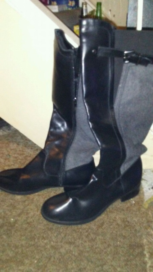 Grey and black Riding style boots