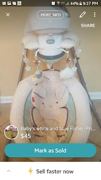 baby's white and blue Fisher-Price cradle 'n swing screenshot Sound Beach, 11789