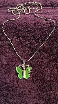 """New silver beaded chain with """"mood"""" color changing butterfly pendant Hudson, 28638"""