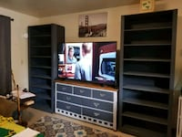 2 large solid wood bookcases Springfield, 97477