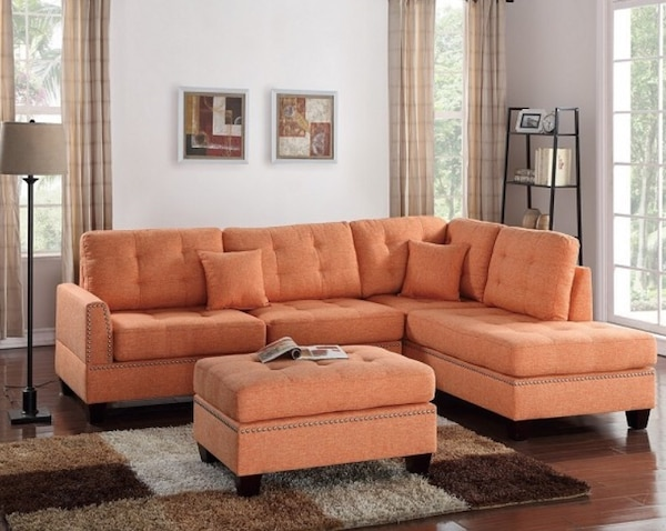 Brilliant Beautiful 2 Pcs Citrus Microfiber Sectional Sofa With 2 Accent Pillows Included Free Cocktail Ottoman Take It Home Today Easily With Only 49 Ibusinesslaw Wood Chair Design Ideas Ibusinesslaworg