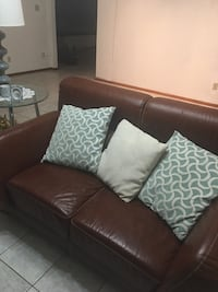 Brown Italian leather 2-seat sofa w pillows Homestead Meadows, 79938
