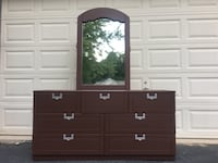 Lea Furniture Solid Wood 7 Drawer Long Dresser With Mirror Chocolate Brown With Silver Handles  Manassas, 20112