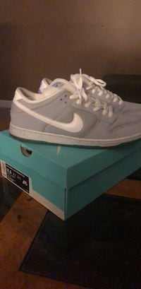 Pair of white nike low-top sneakers with box North Bend, 45052