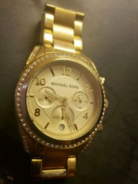 round gold Michael Kors chronograph watch with link bracelet Chowchilla, 93610