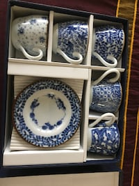 New, in-the-box  Fine Chinese Porcelain Demitasse/Espresso and Saucer Set Vienna
