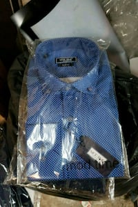 blue and white polka dot button-up shirt Montréal, H3L 2T7