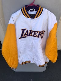 White and yellow lakers button-up letterman jacket Huntington Beach, 92648