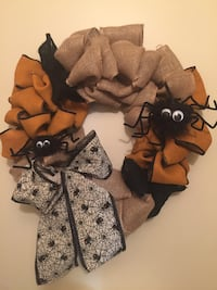 "Handmade Halloween burlap wreath. 24"" Maywood, 60153"
