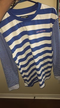 white and blue striped polo shirt Saint John, E2K