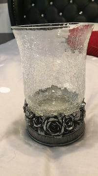 Gray and black glass vase Laval, H7L 5Y7