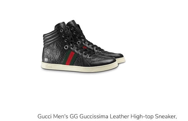 03ae9c70e12 Used Gucci Men s Black Leather Red Green Web GG Guccissima Nero High Top Sneakers  Shoes SIZE US 6 (WOMEN SIZE 8) (NEW) (SNEAKERS) (NWT) for sale in New York