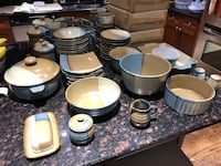 Sango ceramic dinnerware set - tan and blue. Complete with baking pieces and serving pieces.  46 km