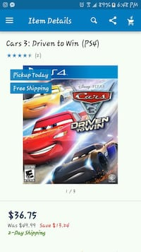 Cars 3 ps4 game driven to win ( 25.00 firm) Evansville, 47711