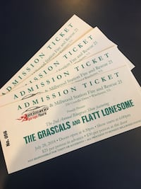 Four (4) Tickets to Grascals & Flat and Lonesome 7/28 Winchester VA Falls Church, 22031