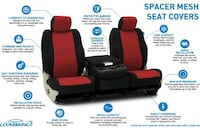 Red and black coverking mesh front seat cover Las Vegas, 89102