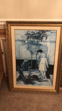 Gold wooden framed print of two children Voorhees, 08043