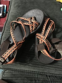 brown and orange chacos