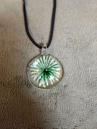 Glass  Flowered green pendant with leather cord