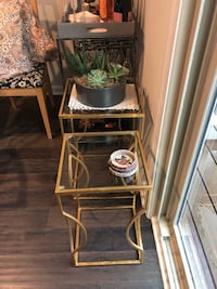 2 gold and glass side tables Ashburn