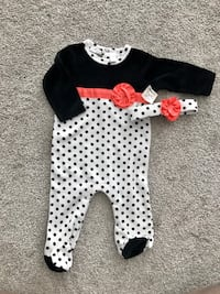 BRAND NEW BABY GIRL OUTFIT WITH MATCHING HEADBAND SIZE 3/6 MOS