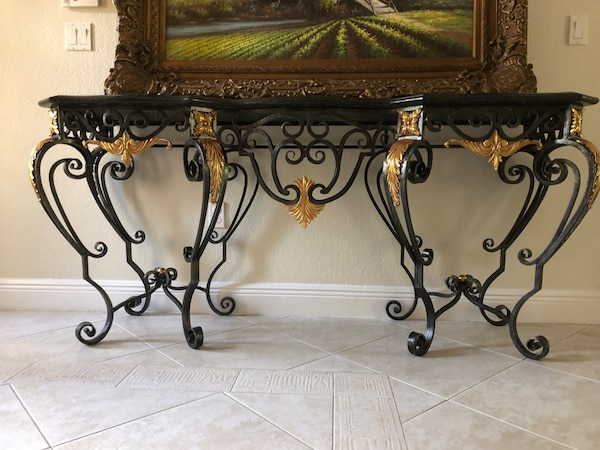 Wrought Iron and Marble Table d20992c6-9ccf-4470-9936-c1fa458adf1e