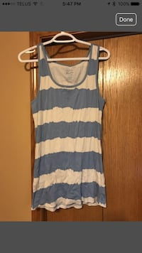Blue and white striped tank top women's Calgary, T3G 4R8