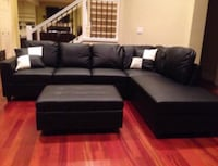 Brand New Black Leather Sectional Couch With Storage Ottoman And Pillows  Maple Valley, 98038