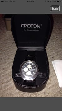 Round black face croton chronograph men's watch with black leather strap in box Maple Park, 60151