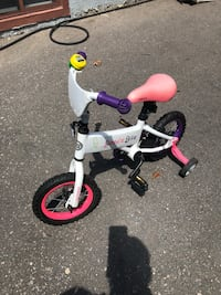 Toddler's white and purple bicycle with training wheels Toronto, M9V 3N7