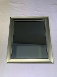 "Large Silver Framed Mirror - 28"" x 23"" - Brushed Nickel Finish w/ Dot Trim Rockville"
