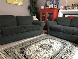 Dark forest green couches Full and love seat