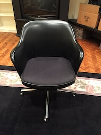 Vintage 1970's black chairs on rollers. 3 available Toronto, M3B 1P1