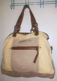Fossil Long Live Vintage Canvas/Leather Tote Bag