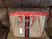brown and red Gucci leather tote bag