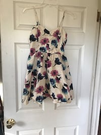 white and pink spaghetti strap floral top