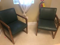 Two leather forest green office chairs Richmond Hill, 31324