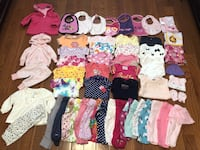 50+ Items Baby Girl Clothes 0-3, 3-6 Months: Onesies/tops (long and short sleeve), Pants (regular and footed), jackets, caps, 2 small towels/1 small receiving blanket, bibs. Brands are mixed. $30 firm for everything. Cash at pickup in Apex.  Holly Springs, 27539