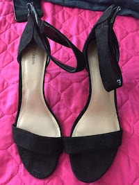 pair of black leather peep-toe heeled sandals Lemoore, 93245