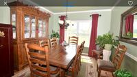 rectangular brown wooden table with chairs dining set Herndon, 20170