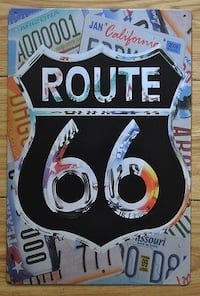 LICENSE PLATE/ROUTE 66 WALL ART / TIN SIGN- Measurements 8 X 12 INCHES Sarnia, N7T 1J2