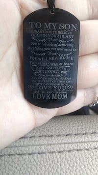To my son love mom tag w chain